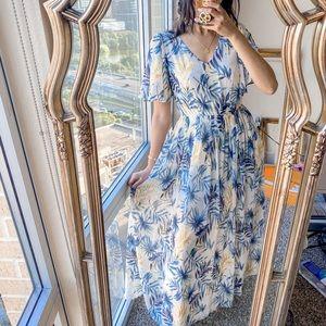 Gal Meets Glam Palm Leaf Floral Ruffle Maxi Dress